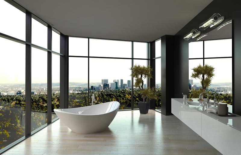 Banheiro de luxo minimalista