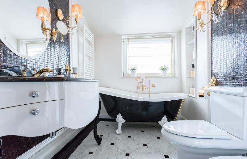 Inspiração clássica para banheiro de luxo