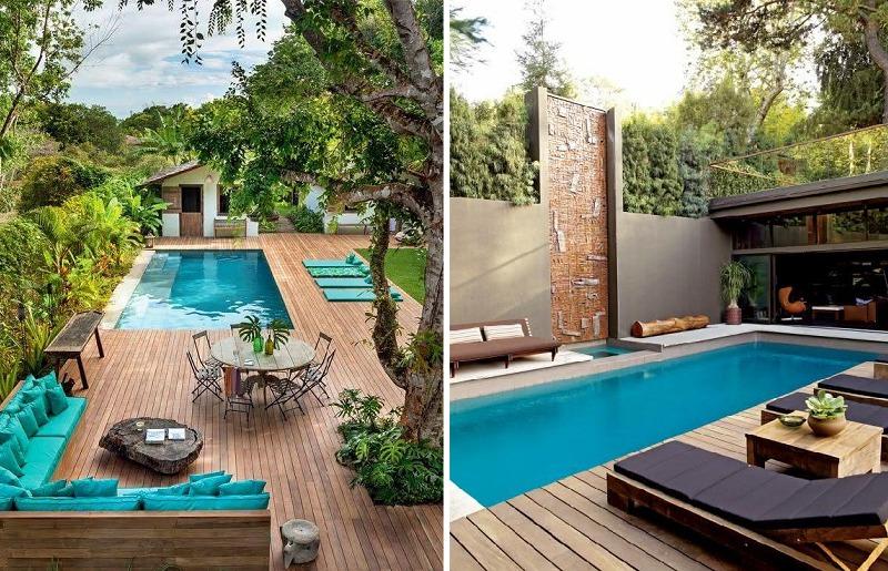 Decoração de piscina com deck