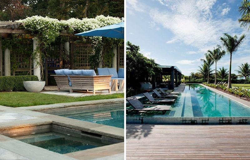 Decoração de piscina externa