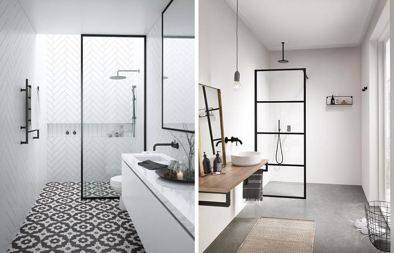 Banheiros modernos - esquadria preta