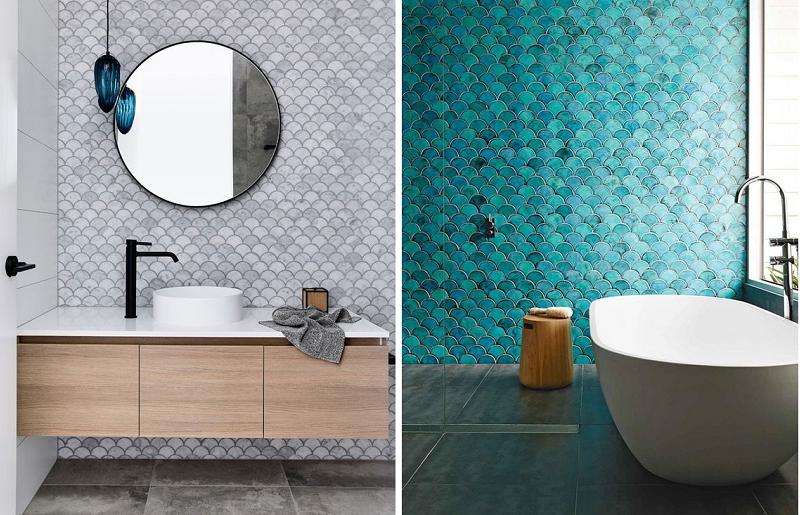 Banheiros modernos - azulejo escama de peixe