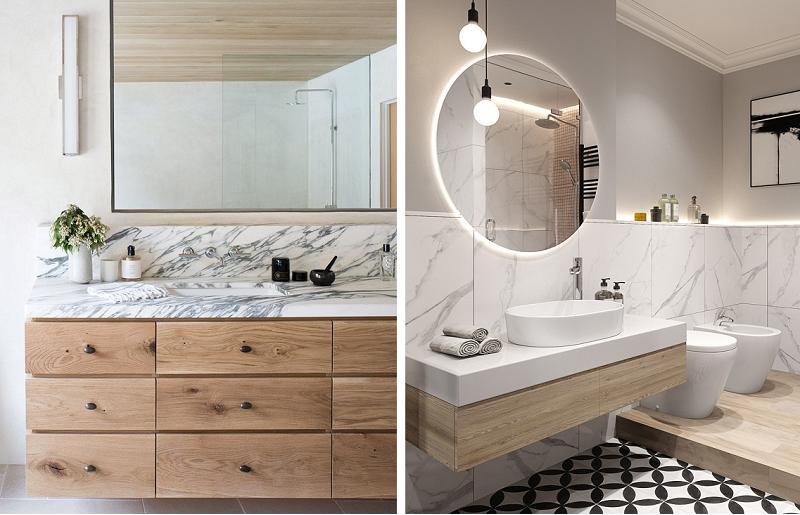 Banheiros modernos - mármore e madeira