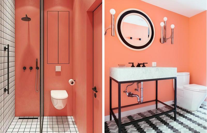 Banheiros modernos - coral