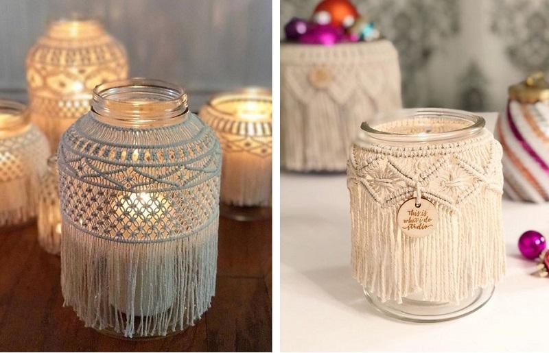 Decoração com velas - macramê