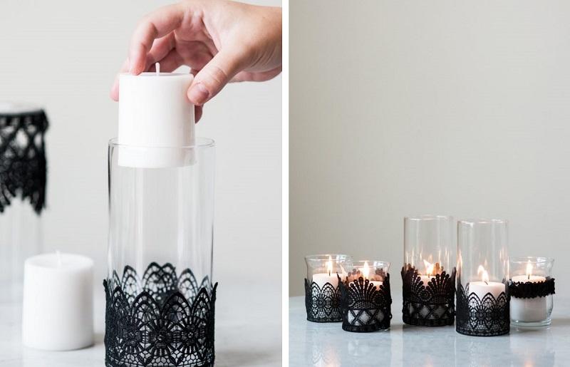Decoração com velas - rendas
