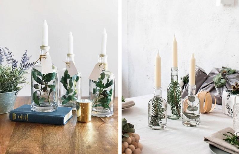 Decoração com velas - garrafa
