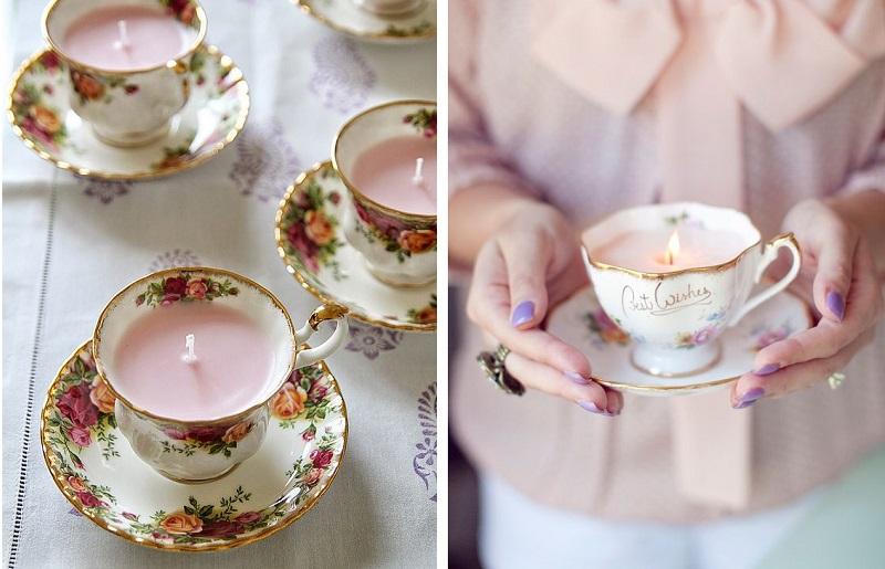 Decoração com velas em xícaras