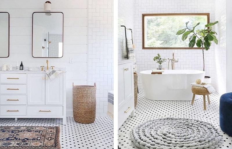 Banheiro branco - tapetes