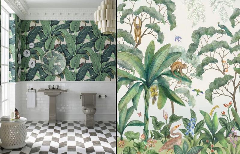 tropical-papel-de-parede-decoração-banheiro-lavado-tendência.