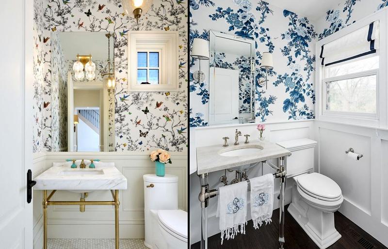 florais-romântico-lavabo-papel-de-parede-decoração-tendência-lavabo-estilo